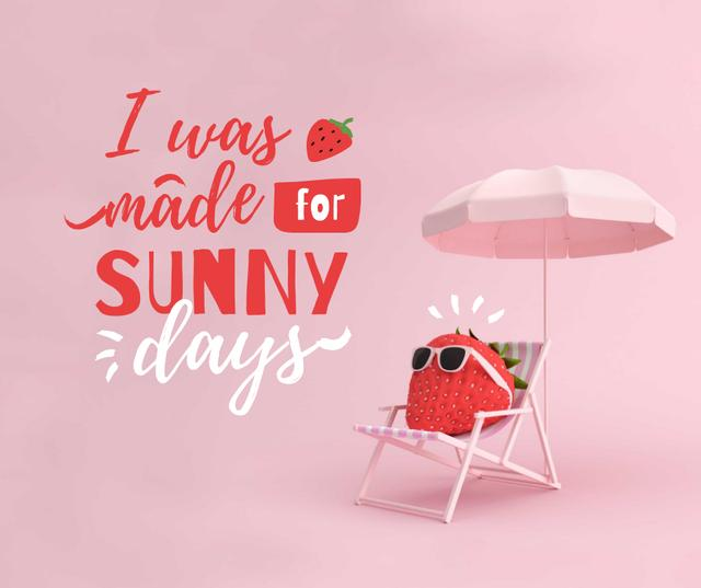 Summer Inspiration with Cute Strawberry on Sun Lounger Facebook Design Template