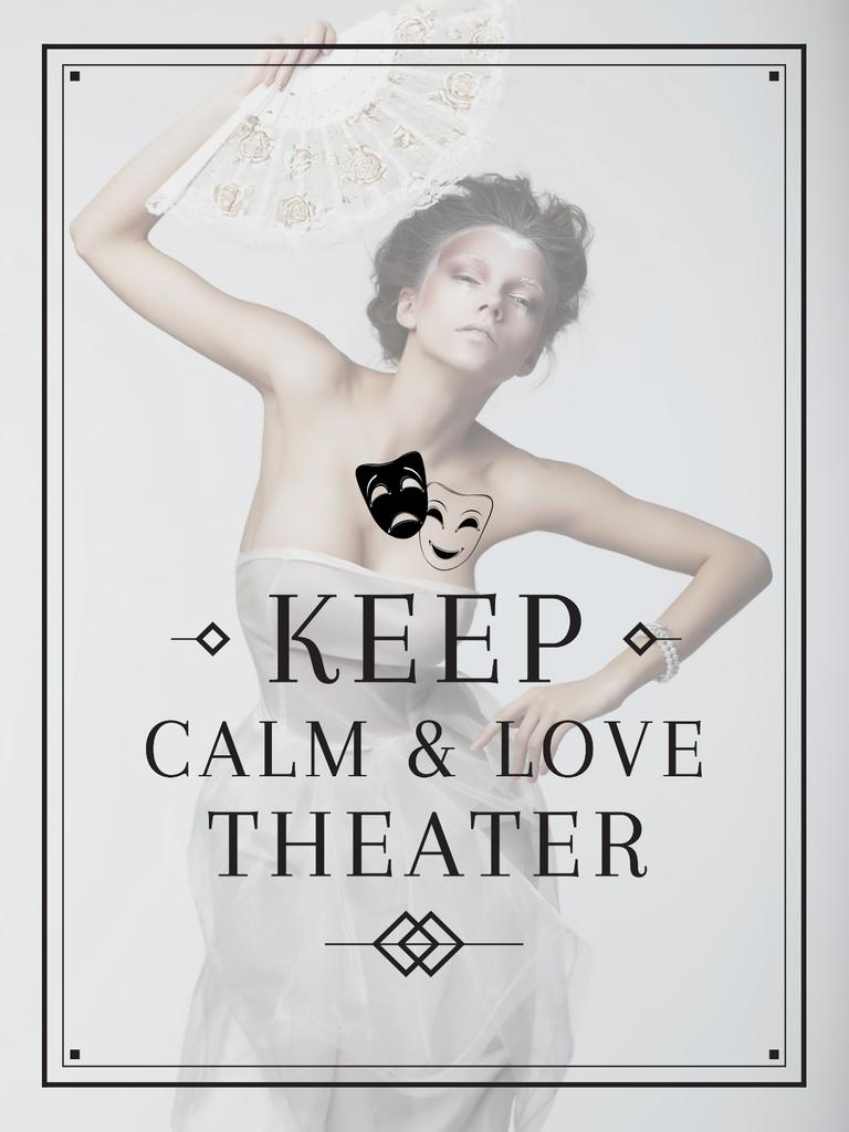Theater Quote Woman Performing in White Poster US Modelo de Design