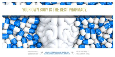 Pharmacy advertisement with quote Twitter Modelo de Design