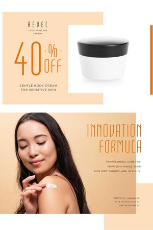 Cosmetics Sale Offer with Woman applying Cream Pinterest Modelo de Design
