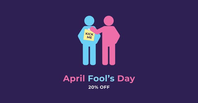 April Fools Day Discount with People Joking Facebook AD Design Template