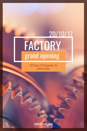 Factory Opening Announcement Mechanism Cogwheels Tumblr Modelo de Design