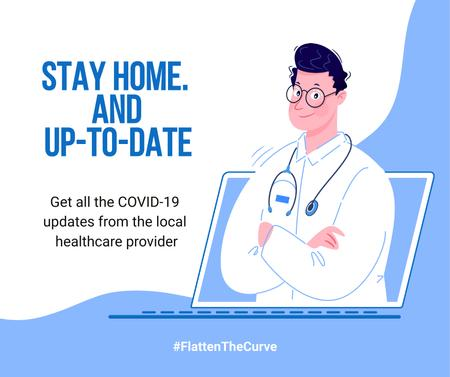 Ontwerpsjabloon van Facebook van #FlattenTheCurve Local healthcare updates Ad