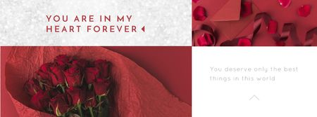 Valentine's Day Bouquet and Envelope  Facebook Video cover Modelo de Design