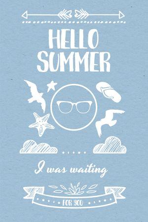 Summer Trip Offer Doodles in Blue Tumblr – шаблон для дизайну