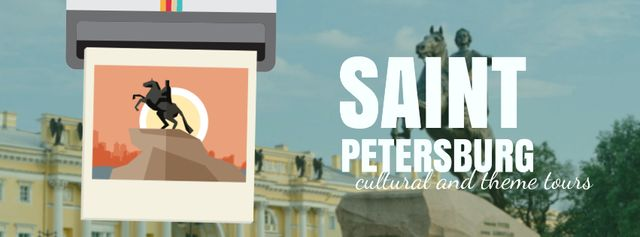 Saint Petersburg famous travelling spots Facebook Video coverデザインテンプレート