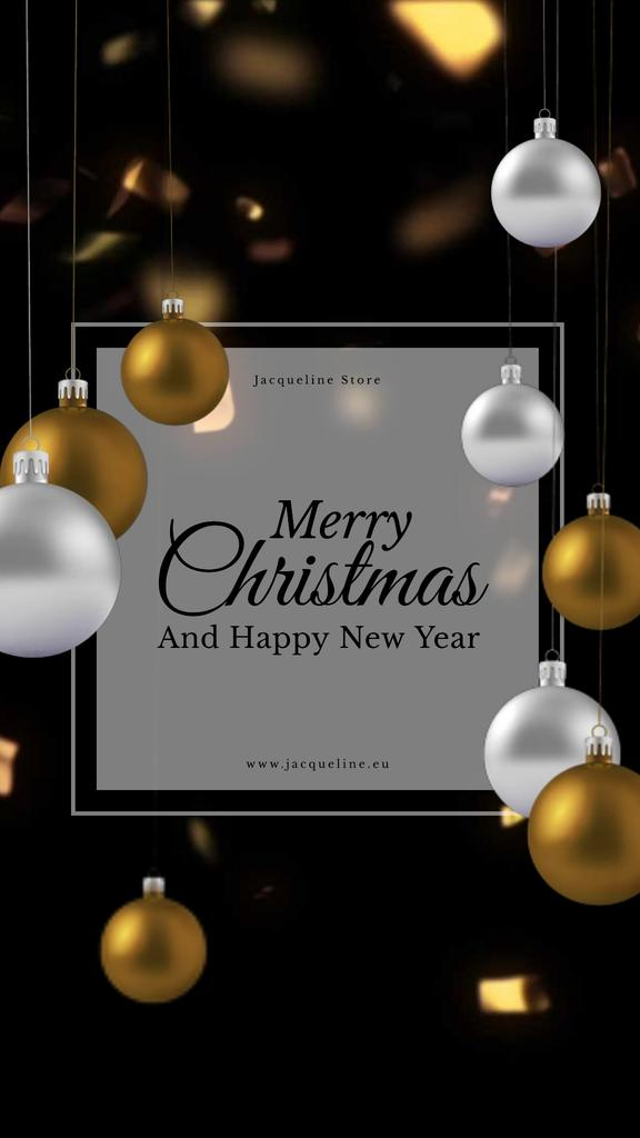 Christmas Greeting with Shiny Baubles — Crea un design