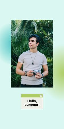 Summer Inspiration with Handsome Man holding Camera Graphic Design Template