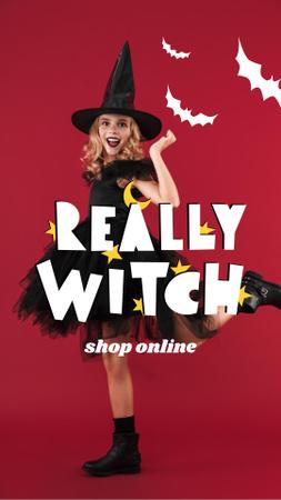 Template di design Cute Girl in Halloween Witch Costume Instagram Story