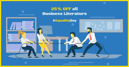 Equality Day with Businesspeople Tug of War Facebook AD Tasarım Şablonu