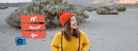 Plantilla de diseño de Travel Tips Ad with Cute Girl in Nature Facebook Video cover