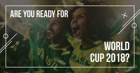 Template di design Football World Cup with screaming fans Facebook AD