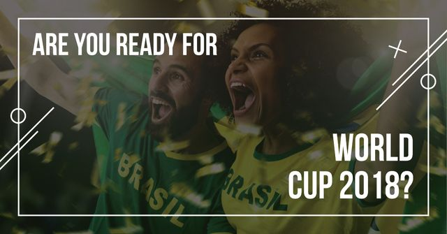 Modèle de visuel Football World Cup with screaming fans - Facebook AD