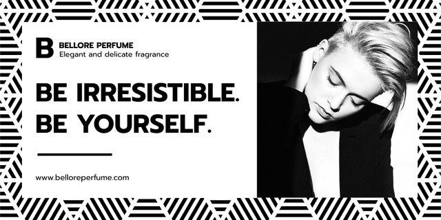 Plantilla de diseño de Perfume advertisement with Young Woman Twitter