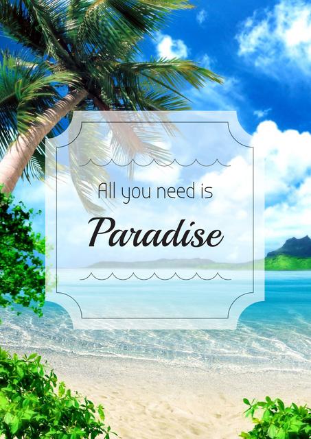 Plantilla de diseño de Vacation Inspiration with Tropical Palm Trees Poster