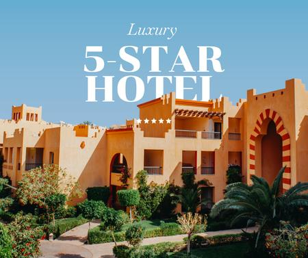Summer Travel Offer with Luxury Hotel Facebook Design Template