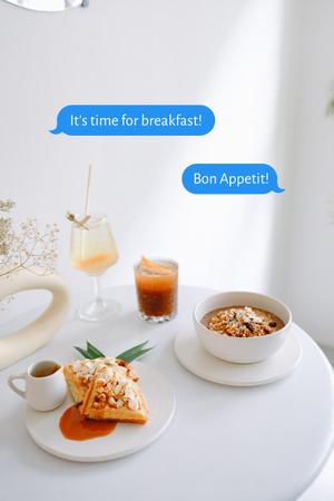 Delicious Breakfast on White Table Pinterestデザインテンプレート