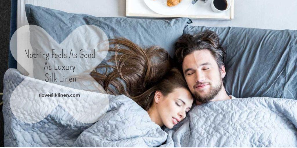 Luxury silk linen Offer with sleeping Couple — Створити дизайн