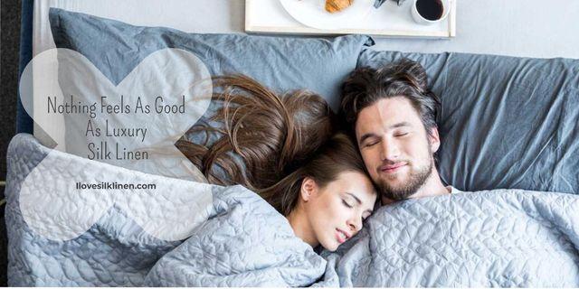 Luxury silk linen Offer with sleeping Couple Twitter – шаблон для дизайну