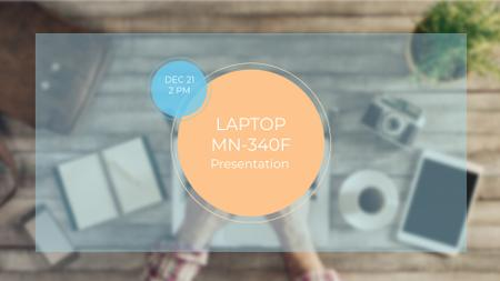 Laptop Presentation Ad with Gadgets on Workplace FB event cover Tasarım Şablonu