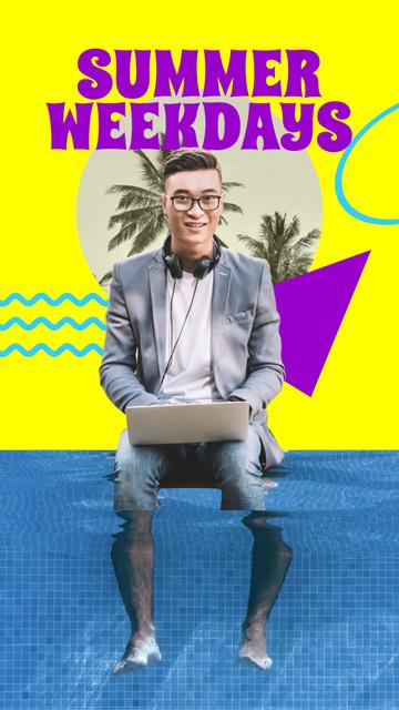 Funny Man working on Laptop in Summer Pool Instagram Story Modelo de Design