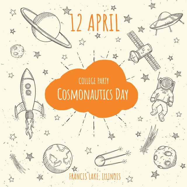 Cosmonautics day party invitation Instagram AD – шаблон для дизайну