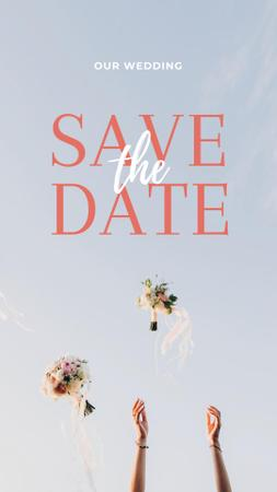 Save the Date Event Announcement with throwing Bouquets Instagram Story – шаблон для дизайну
