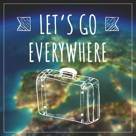 Travel inspiration with Suitcase on Earth image Instagram AD – шаблон для дизайну
