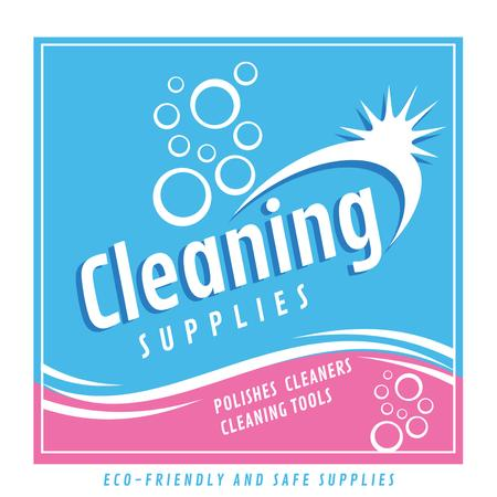 Plantilla de diseño de Cleaning Supplies Ad bubbles in blue Instagram AD