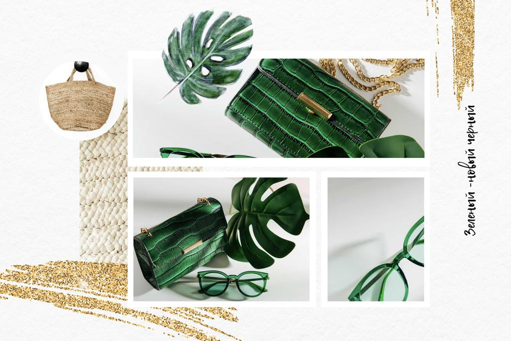 Fashion Accessories in green colors Mood Board – шаблон для дизайна
