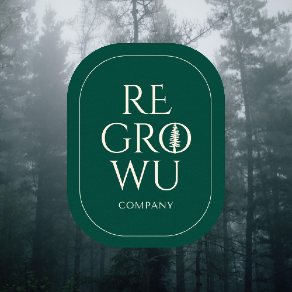 Trees in Foggy Forest Logo – шаблон для дизайну