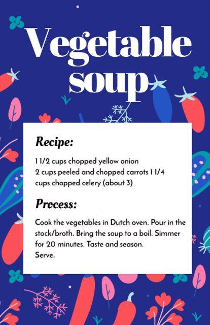Vegetable Soup Cooking Steps Recipe Card – шаблон для дизайна