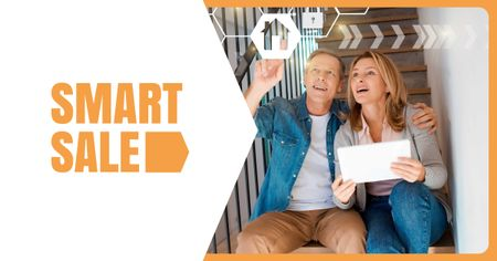 Couple using Smart Home Application Facebook AD Modelo de Design
