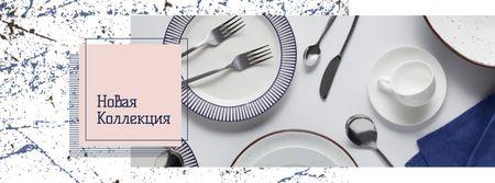 Porcelain plates and cutlery Sale Facebook cover – шаблон для дизайна