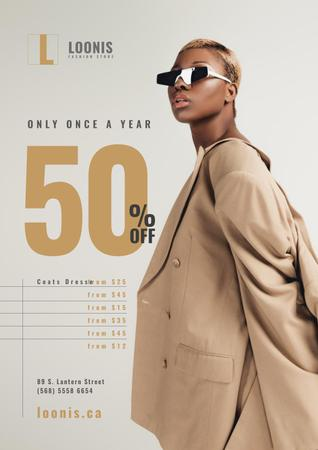 Plantilla de diseño de Fashion Store Sale with Woman in Sunglasses Poster