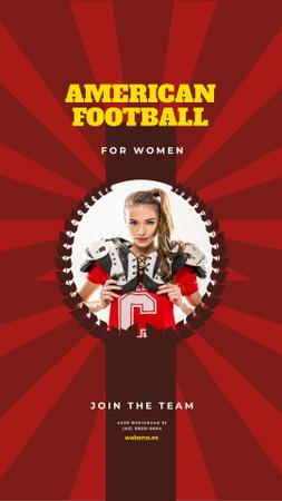 Plantilla de diseño de American Football Team Invitation with Girl in Uniform Instagram Story
