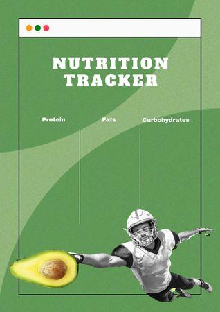 Modèle de visuel Nutrition Tracker with Man catching Avocado - Schedule Planner