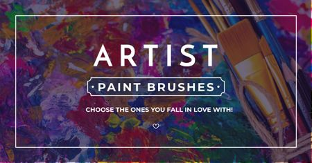 Modèle de visuel Artist paint brushes store Offer - Facebook AD