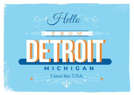 Modèle de visuel Hello from Detroit - Postcard