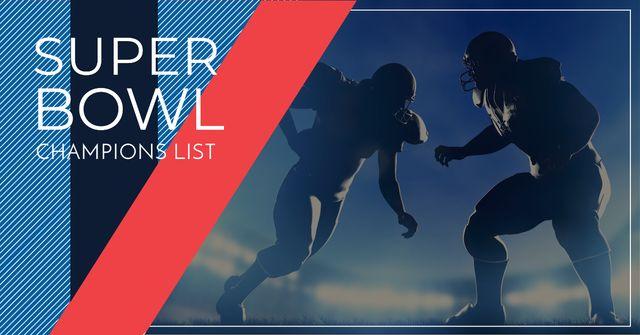 Modèle de visuel Super Bowl Players Silhouettes - Facebook AD