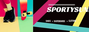 Sports Equipment Ad with Girl by Bright Skateboard