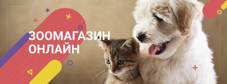 Pet Store ad with Cute animals Facebook cover – шаблон для дизайна