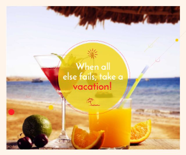 Vacation Offer Cocktail at the Beach Large Rectangle – шаблон для дизайна