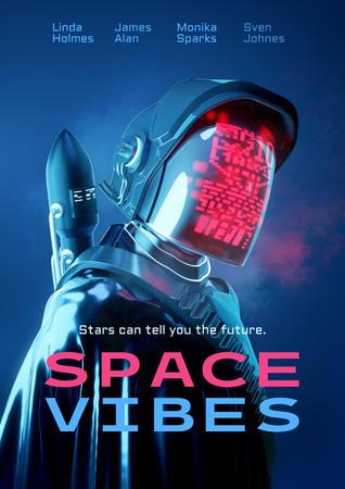 Designvorlage Movie Announcement with Man in Astronaut Suit für Poster