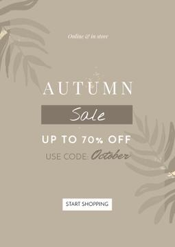 Autumn Sale announcement on Leaves