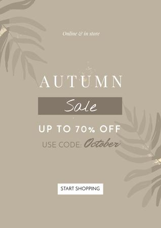Plantilla de diseño de Autumn Sale announcement on Leaves Poster