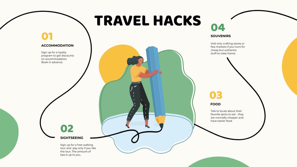 Travel Hacks with Woman drawing Mind Map – шаблон для дизайну
