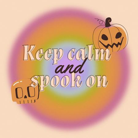 Funny Phrase about Halloween with Scary Pumpkin and Skull Animated Post – шаблон для дизайна