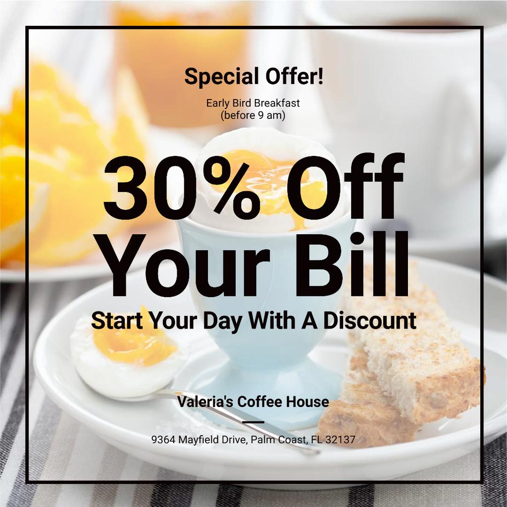Modèle de visuel Breakfast Discount with Served Boiled Egg - Instagram AD