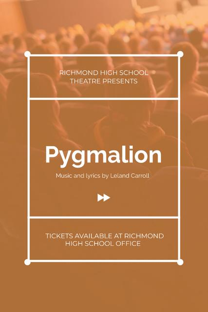 Theater Performance Announcement with Excited Audience Pinterest Modelo de Design